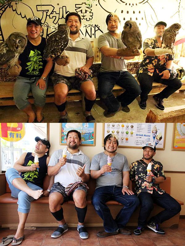 諏訪魔&石川、青木&佐藤が那覇・国際通りでダブルデート チーム編成シャッフルによるベルト独占視野に